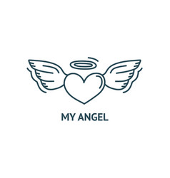 Print heart with angel wings and halo vector