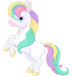 Rainbow pony rearing up vector