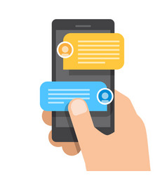 right hand holds smartphone chat messages vector image