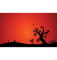 Scenery with Halloween zombie and bat vector