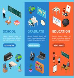 school education banner vecrtical set concept 3d vector image