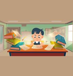 School student passing exam in classroom vector