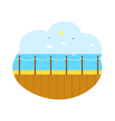 Seascape from wooden pier sea view isolated vector