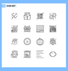Set 16 outlines on grid for candles birthday vector