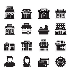 silhouette shop building icon set vector image