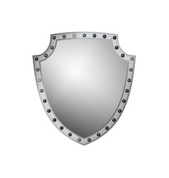silver shield shape icon 3d gray emblem sign vector image