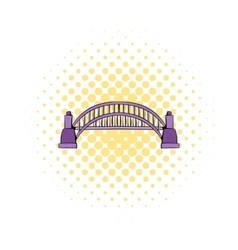 Sydney Harbour Bridge icon comics style vector image