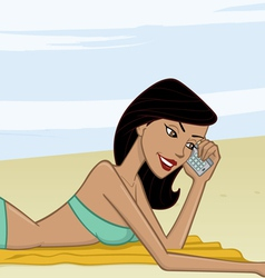 tan sunbathing girl at beach cartoon vector image