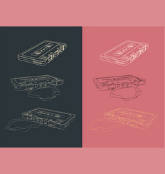tape cassettes set vector image