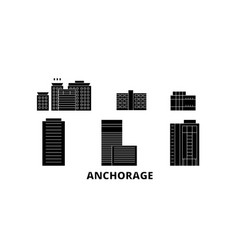 United states anchorage flat travel skyline set vector