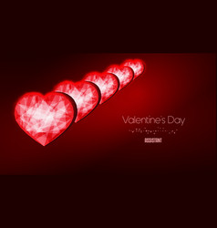 valentines day background polygonal red heart low vector image