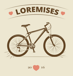 vintage bicycle logo or print design vector image