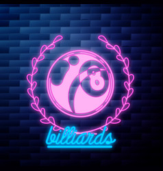 vintage billiard emblem glowing vector image