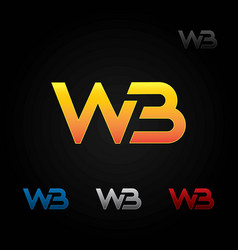 w and b combined logo icon vector image