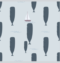 whale and bawhale in blue ocean with a boat vector image