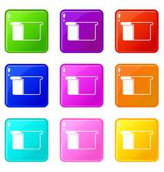 white bread icons 9 set vector image