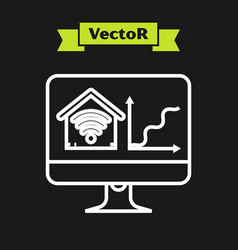 white line computer monitor with smart home with vector image