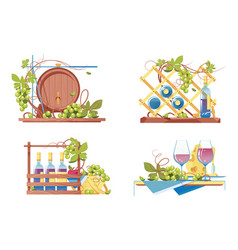 winery icon set with classic wooden barrel vector image
