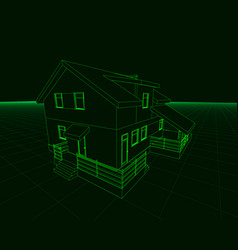 Wireframe of the cottage of green lines on a dark vector