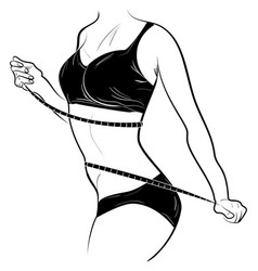 Young slender female measures the waist by tape vector