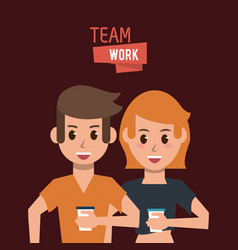 young teamwork cartoon vector image