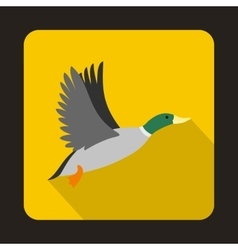 Flying wild duck icon flat style vector image