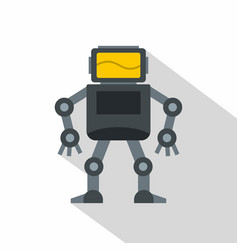 Grey robot with monitor head icon flat style vector