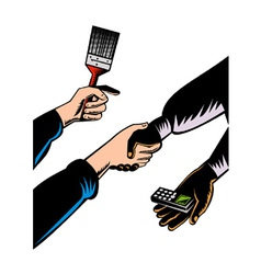 Hands Barter Paint Brush Cell Phone vector image