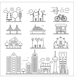 Landscape city buildings thin line ourline linear vector image