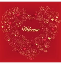 Red card with floral heart and text Welcome vector image vector image