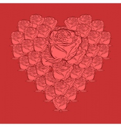 vector roses in heart shape vector image