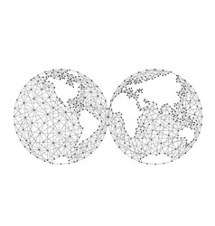 world map of the two spheres from polygonal black vector image