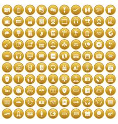 100 headphones icons set gold vector image