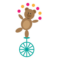 bear on unicycle vector image vector image