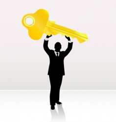businessman lifting key vector image vector image