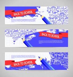 Doodle kid cartoon banners vector image