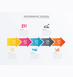 infographics arrow number 5 step template vector image vector image