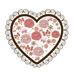 silhouette heart with decorative frame and vector image