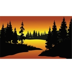 Silhouette of spruce in river vector