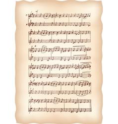 vintage musical sheet vector image vector image