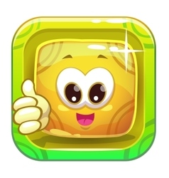 App icon with funny cute yellow character vector image vector image