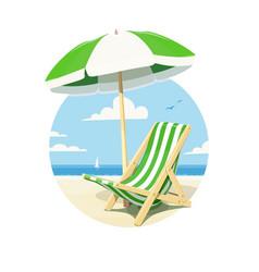 beach chair and umbrella vector image vector image