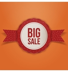 Big Sale Christmas realistic red Tag with Ribbon vector image