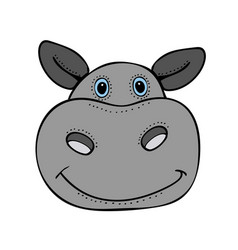 hippo cute funny cartoon head vector image