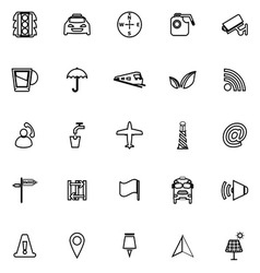 Map sign line icons on white background vector