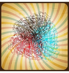 Poster in retro style with colored fingerprint vector image