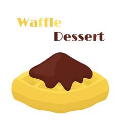 belgian waffle with chocolate tasty breakfast vector image
