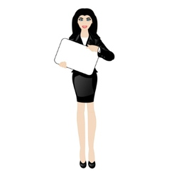 cartoon business lady with a sign vector image vector image