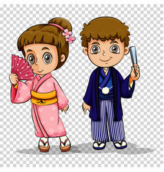 japanese boy and girl in costume vector image
