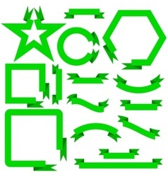 Set green ribbons and banners vector image